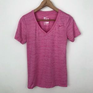 Nike Dri-Fit Pink V-neck Athletic Top